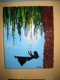 Handmade - Girl Swinging - melted crayon on acrylic