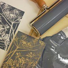 Charcoal Grey Cow Parsley Original Linocut Print