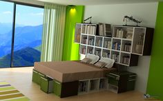 Outstanding multifunctional modern bed and bookcase design.