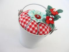 Pincushion Pail with Blossoms in Red by PiccalilliPatchwork