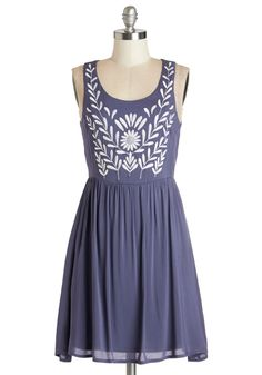 The Folky Pokey Dress. If lovely style is what its all about, youve got it all figured out in this dusk-blue dress! #blue #modcloth