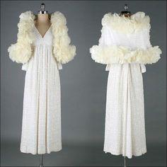 2671   Vtg 60s MOLLIE PARNIS White Maxi Turkey Feather Cape Designer Dress M med
