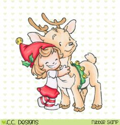 *New Rustic Sugar Cinnamon and Reindeer Rubber Stamp