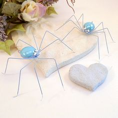 Blue Spiders Handmade Hanging by SpiderwoodHollow on Etsy, $15.00