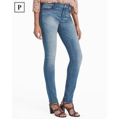 White House Black Market Petite Leather Trim Skinny Jeans ($89) ❤ liked on Polyvore featuring jeans, petite, white ripped jeans, skinny ankle jeans, light wash ripped skinny jeans, ripped skinny jeans and petite skinny jeans