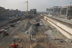 Overzichtsfoto bouwput centrumkant station (12 februari 2015)