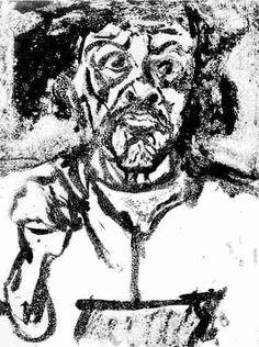 Autorretrato, grabado de Francisco Toledo