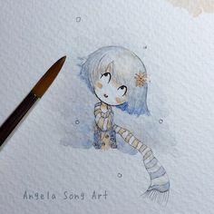 It's snowing in my sketchbook. #snow #illustration #watercolor #studies #angelasongart
