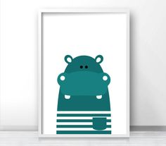 Printable Kids Wall Art Modern Kids Art Hippo Nursery Art