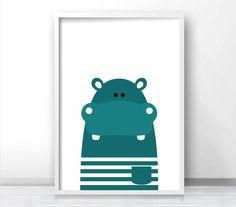 Printable Kids Wall Art, Modern Kids Art, Hippo Nursery Art, Animal Print For…