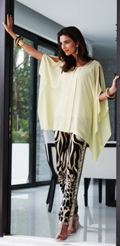c8dff9e70fea The Big Easy: A flutter of citron silk paired with soft animal print pants.
