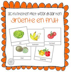 Kindergarten teacher in a kindergarten: Activities with word cards Learn Dutch, Restaurant Themes, Preschool Learning, Kindergarten Activities, Very Hungry Caterpillar, Fruits And Vegetables, Diy For Kids, Elementary Schools, Good Food