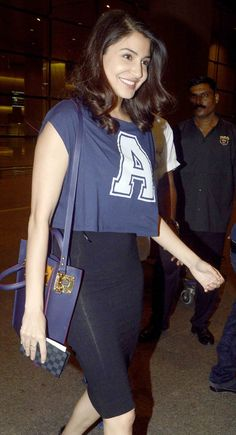 Anushka Sharma spotted at Mumbai airport while returning from #IIFAAwards2015 held in Malaysia. #Bollywood #Fashion #Style #Beauty