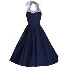 Carola Blue Halter Neck Dress | Vintage Inspired Fashion - Lindy Bop ($30) ❤ liked on Polyvore featuring dresses, halter dress, halter-neck dress, vintage style dresses, vintage looking dresses and blue day dress