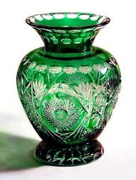 Green cut glass vase