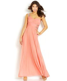 City Studios Juniors' Pleated One-Shoulder Gown