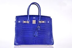 Hermes 35cm Birkin Bag Blue Electric Palladium Hardware JaneFinds | 1stdibs.com
