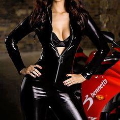 [BlackFridaySale]Sexy Women Jumpsuit Bodysuit PU Leather  Fancy Halloween Costume(1Pieces) – EUR € 17.18