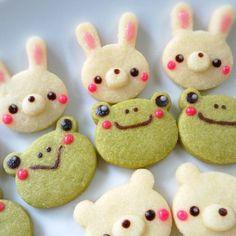 animal cookies idea for raw cookie (avacado and banana) Galletas Cookies, Cute Cookies, Cupcake Cookies, Sugar Cookies, Cupcakes, Frog Cookies, Kawaii Cookies, Jelly Cookies, Shortbread Cookies
