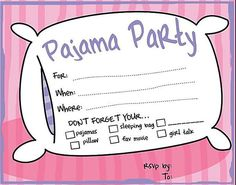 7 Free, Printable Sleepover Invitations Your Daughter Will Love: Pajama Party Invitations from Make Your Own Invitations