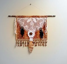 Vintage Doily Tapestry Wall Hanging Cream by BrokenGhostCouture, $46.00