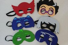 Create an adventurous party with your child becoming their favorite PJ Mask. Perfect for Parties or just for everyday fun! These masks are made from high quality felt with elastic strap sewn for a well made finished design. Order Individual character or complete sets! Contact me