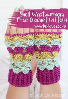 Crochet Shell Wrist-warmers Free Pattern   Lululoves Blog