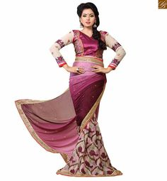 Blouse designs latest style for trendy and cute saree patterns 2015 floral print on lower part and stone butta work at pallu with copper color zari border work