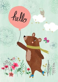 Hello Bear...Giclee print of an original por DrawnByRebeccaJones