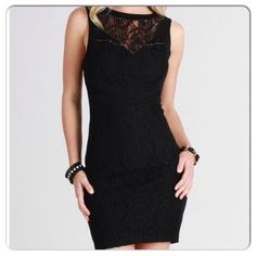 Great body-con dress Great dress for the holidays...Rhinestone lace yoke bodycon dress....so comfortable. Sizes S M L....Price is firm unless bundling. Dresses