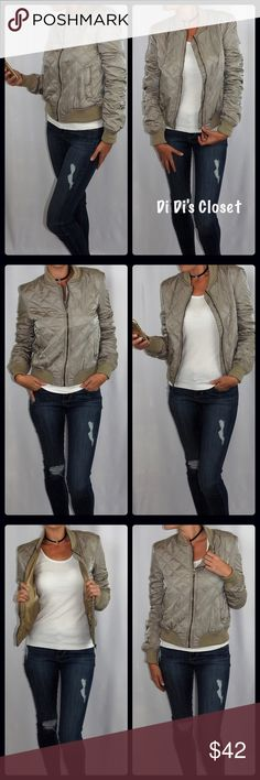 Quilted Bomber Jacket⭐️Beautiful Taupe Color Gorgeous quilted bomber jacket! One of the hottest trends right now! This bomber will keep you warm on those cold winter days.  ⭐️Gorgeous Taupe Color ⭐️100% Polyester  ⭐️Fully lined ⭐️Quilted/Warm & thick ⭐️Front Zipper ⭐️Pockets on sides ⭐️Perfect winter jacket  ⭐️Measurements Given Upon Request  ⚡️Price Firm Unless Bundled 🚫Trades/ 🅿️🅿️ or Mercari Jackets & Coats