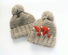 Mommy and Me Matching Hats Fox Hat Knit Hats Mother Daughter hats Pom Pom Hats Matching Outfits Woman Hat Unisex Kids Hat Cute hats Knitted Hats Kids, Knitting For Kids, Knitting Projects, Baby Knitting, Knitting Patterns, Knit Hats, Crochet Fox, Cute Crochet, Crochet Hats