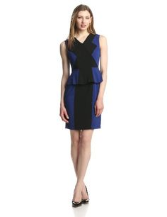 Classy BCBGMAXAZRIA Women's Racha Color-Block Sheath Dress with Peplum Sleeveless cocktail dress in color-blocking featuring V-neckline and peplum V-back with concealed zipper
