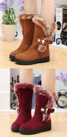 US$23.92  Winter Suede Round Toe Warm Ankle Boots