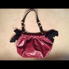Vera Wang Red Bowed Shoulder Bag Great Condition. Deep Red Color. Bows. Medium Sized Bag Monogrammed Lining Vera Wang Bags Shoulder Bags