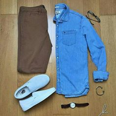Outfit grid - Denim shirt day