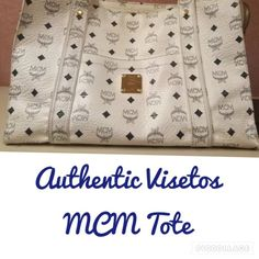 Authentic Vintage MCM Visetos Shopper Tote Bag 100% Authentic! MCM Vintage Visetos Canvas Big Shopper Tote. Navy & White. Zip Top. Fair Condition w/preowned signs of normal wear. (Please see pics) Relatively clean on inside w/no stains. Navy Leather License Plate on inside zippered pocket. One front pocket w/navy signature canvas lining. Long Shoulder Strap. Measurements: 15 Inches Across, 10 Inches Tall & 5.5 Inches Wide. This bag will need a Cleaning. (Any local Leather Store). Please keep…