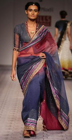 wine & indigo shaded KC net sari by anju modi