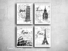 Digital print Travel Poster Art set European cities Modern wall decor Prague London Paris Rome Famous Landmarks Black & white 8x10