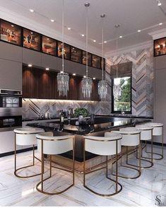 Luxury Kitchen Design, Best Kitchen Designs, Luxury Kitchens, Interior Design Kitchen, Cool Kitchens, Interior Decorating, Kitchen Design Open, Decorating Ideas, Beautiful Kitchens