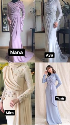 Hijab Evening Dress, Hijab Dress Party, Hijab Style Dress, Simple Bridesmaid Dresses, Simple Dresses, Pretty Dresses, Formal Dresses, Kebaya Modern Dress, Malay Wedding Dress