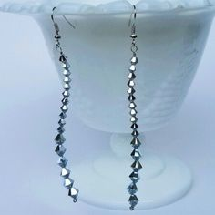 New item! One pair of silver Swarovski Crystal dangle earrings now available for purchase in my shop!