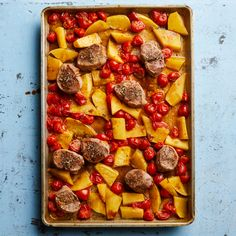 Sheet-Pan Pork & Cherry Tomatoes Recipe - EatingWell - a bit higher carbs but so good Diabetic Recipes For Dinner, Whole Food Recipes, Dinner Recipes, Pork Recipes, Diabetic Foods, Diabetes Recipes, Diabetes Diet, Gestational Diabetes, Dinner Ideas