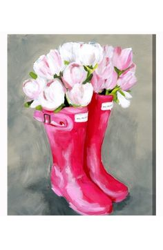 Main Image - Oliver Gal Tulips Rain Boots Canvas Wall Art