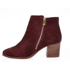 River Island Rust red suede zip ankle boots ($90) ❤ liked on Polyvore featuring shoes, boots, ankle booties, red booties, side zipper boots, chunky booties, short suede boots and red suede booties