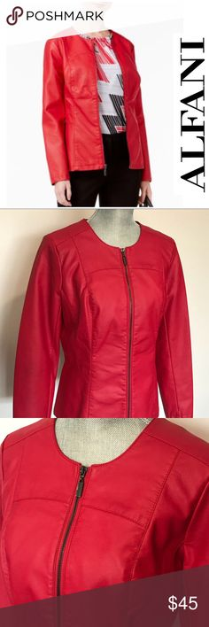 "🆕 NWT Alfani Faux Red Leather Jacket Small Stunning Alfani faux leather jacket in red - size Small - new with tags and in perfect condition! A classic and elegant look!   Retails for $99.50 Gunmetal color zipper  Approximate measurements:  Width 18 ½"" Length 24""   ✅All items in my closet are either NEW or in excellent condition - any signs of wear are minimal and will be detailed on pictures and description. ✅ Very clean and smoke free home.  ✅Make me an offer and shop bulk to save! Alfani…"