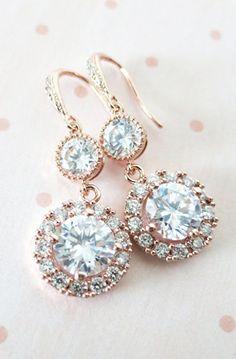Heather - Luxe Rose Gold Cubic Zirconia Halo style Round Teardrop dangle Earrings