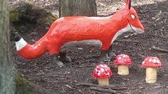 Fox beside toadstools Gruffalo Trail, St Andrews, Botanical Gardens, Giraffe, Fox, Animals, Felt Giraffe, Animales, Animaux