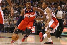 Wall takes to Lowery who fouls out in game 1 of the 2015 NBA Playoffs.  Wizards vs. Raptors with moves like this.  Wiz win this game. 93-86
