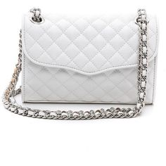 Rebecca Minkoff Quilted Mini Affair Cross Body Bag - White ($137) ❤ liked on Polyvore featuring bags, handbags, shoulder bags, accessories, purses, bolsa, sac, quilted leather crossbody, leather crossbody purse and leather purse